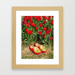 Wooden Shoes and Tulips Framed Art Print