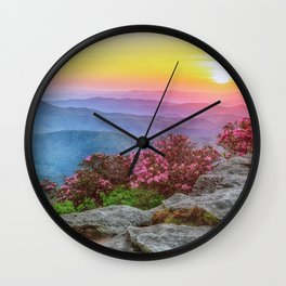 Photos USA Roan Mountain Rhododendron Gardens Nature Hill Scenery Sunrises and sunsets Shrubs sunrise and sunset landscape photography Bush Wall Clock