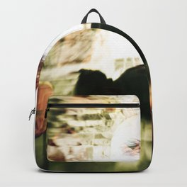 Woman and flowers Backpack