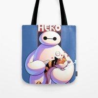 big hero 6 Tote Bags featuring Baymax - Big Hero 6 by J Skipper