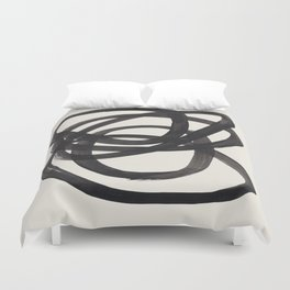 Mid Century Modern Minimalist Abstract Art Brush Strokes Black & White Ink Art Spiral Circles Duvet Cover