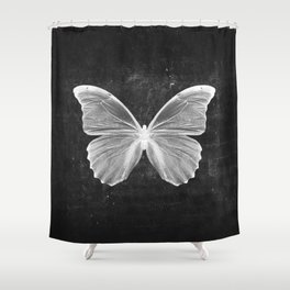 Butterfly in Black Shower Curtain