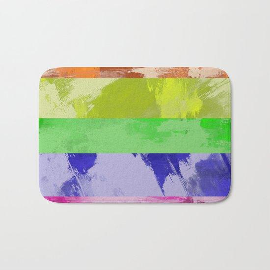 Rainbow Stripes - Abstract, textured, red, orange, yellow, green, blue, indigo, violet artwork Bath Mat