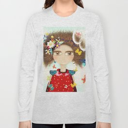 Doll Butterfly Balloons Afro Hair Flowers Long Sleeve T-shirt