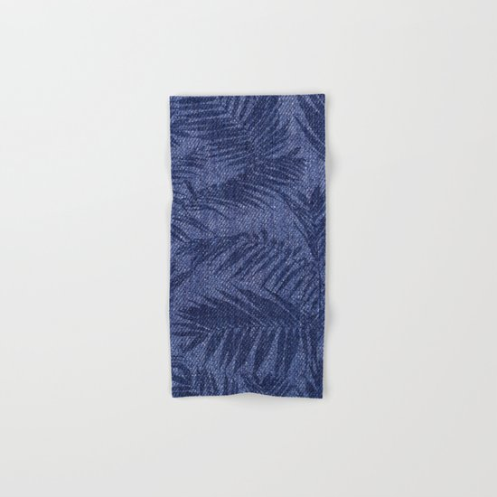 Tropical pattern on blue jeans Hand & Bath Towel