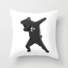 Funny Dabbing Staffordshire Bull Terrier Dog Dab Dance Throw Pillow