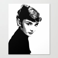 Audrey Hepburn Black and white Canvas Print