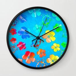 Tie Dye Honu And Hibiscus Wall Clock