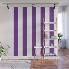 Eminence violet - solid color - white vertical lines pattern Wall Mural