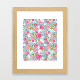 Blue & Pink Roses Allover with Geometric Pattern and Gold Framed Art Print