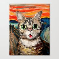 lil bub Canvas Prints featuring Lil Bub Meets The Scream by Sagittarius Gallery