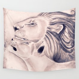Two Lions Vintage Style Wall Tapestry
