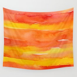 Watercolor Pattern Abstract Summer Sunrise Sky on Fire Wall Tapestry