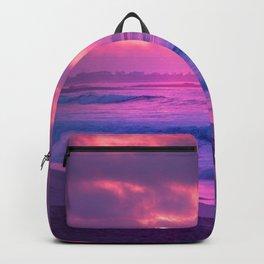 Romantic Sunset At Beautiful Seashore Purple Shade Ultra HD Backpack