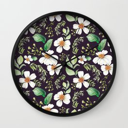 Modern purple green white watercolor daisies floral Wall Clock