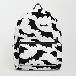 Halloween print. Black bats on white background. Backpack