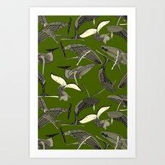 just whales green Art Print