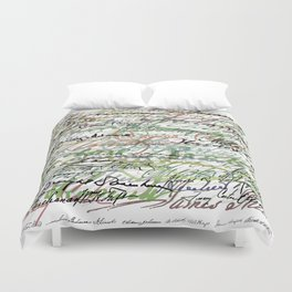 All The Presidents Signatures Green Sepia Duvet Cover