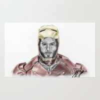 iron man Area & Throw Rugs featuring Iron Man by Kim Jenkins