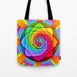 Healing Lotus Rainbow Yin Yang Mandala Tote Bag