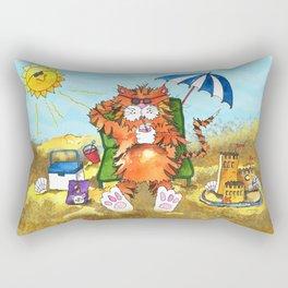 Cat at the Beach Rectangular Pillow