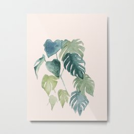 Minimalist watercolor tropical monstera leaves in blushpink and emerald Metal Print