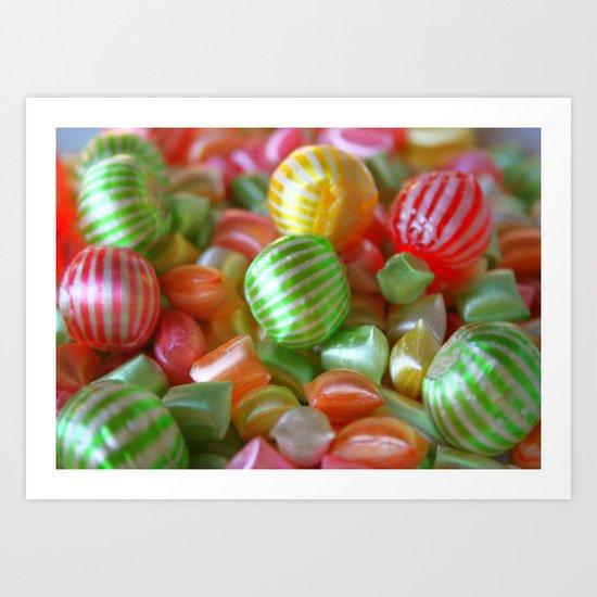 Multi-Colored Striped Candy Art Print