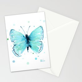 Blue Abstract Butterfly Stationery Cards