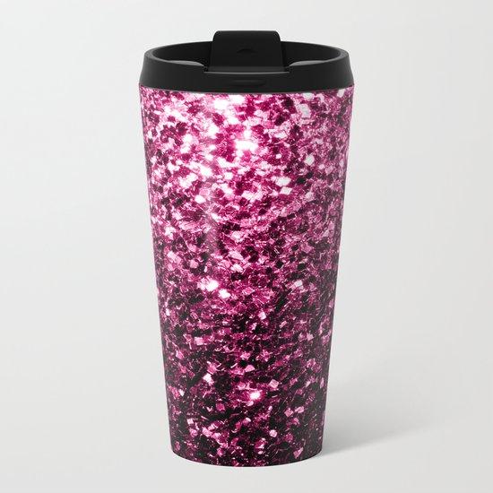 Beautiful Pink glitter sparkles Metal Travel Mug