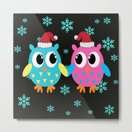 Xmas Owls in the Snow Metal Print