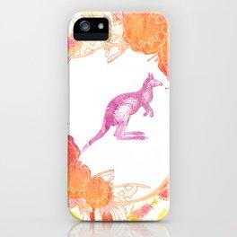 Beautiful watercolour australian native floral print with kangaroo iPhone Case