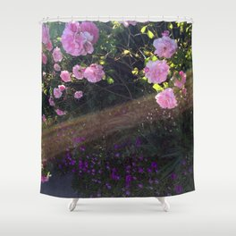 Pink roses and sunshine Shower Curtain