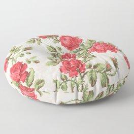Victorian Vintage Rose Floor Pillow