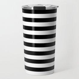 Black and White Horizontal Strips Travel Mug