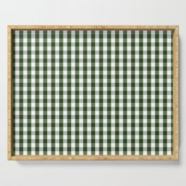 Dark Forest Green and White Gingham Check Serving Tray