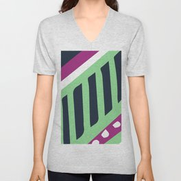 Mid-Century Modern Cranberry & Lime Abstract Pattern Unisex V-Neck