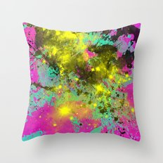 Stargazer - Abstract cyan, black, purple and yellow oil painting Throw Pillow