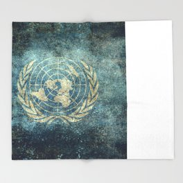 The United Nations Flag - Vintage version Throw Blanket