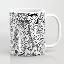 Lots of Bodies Doodle in Black and White Coffee Mug