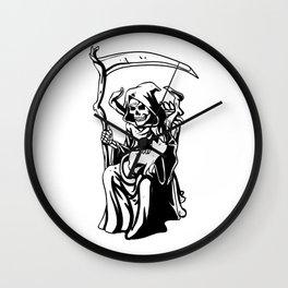 Grim sitting on the throne Wall Clock