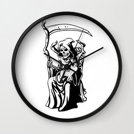 Grim sitting on the throne Wall Clock