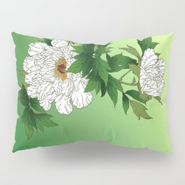Vintage Japanese Sketch of Large White Peony Pillow Sham