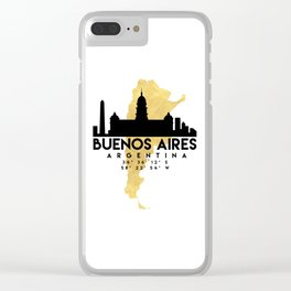 BUENOS AIRES ARGENTINA SILHOUETTE SKYLINE MAP ART Clear iPhone Case