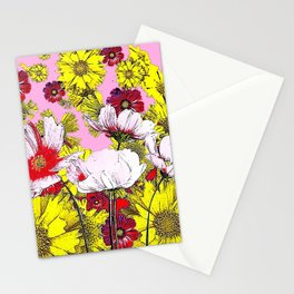 GARDEN FLOWERS IN  PINK-YELLOW- RED DRAWING Stationery Cards