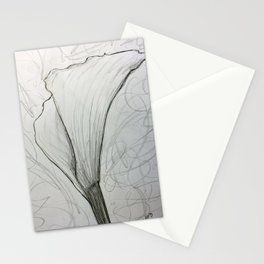 White Calla Lily Drawing Stationery Cards