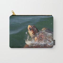Loggerhead Turtle (Caretta Caretta) Breaking The Sea Surface Carry-All Pouch
