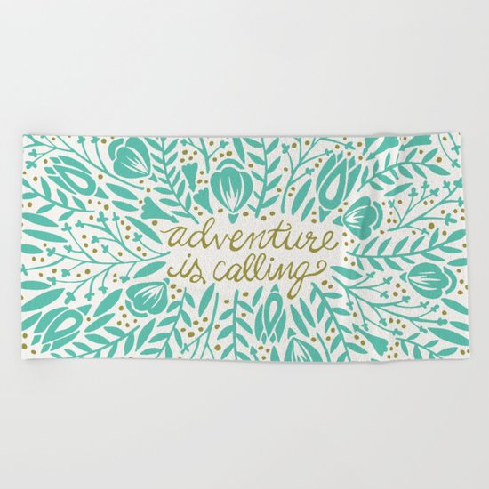 Adventure is Calling – Turquoise & Gold Palette Beach Towel