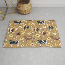 Cows and Flowers Illustration on Golden Yellow  Rug