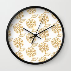 Golden floral on white 2/5 Wall Clock
