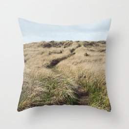Oregon Dune Grass Adventure - Nature Photography Throw Pillow